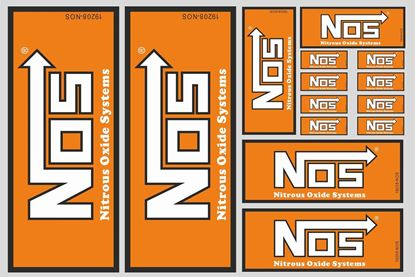 """Picture of """"NOS Nitrous Oxide Systems""""  Track and street race sponsor Sticker Sheet"""
