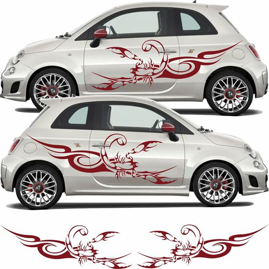 Picture of Fiat  500 / 595  Abarth Tribal Scorpion Side Graphics / Stickers