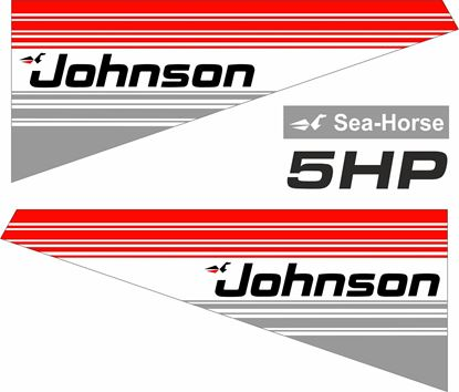 Picture of Johnson 5HP Sea Horse replacement Engine Cover Decals / Stickers