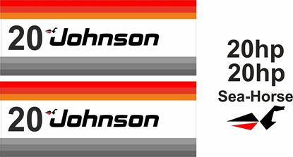 Picture of Johnson 20hp Sea-Horse replacement Engine Cover Decals / Stickers
