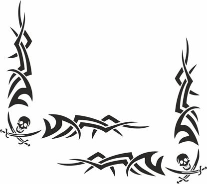 Picture of Skull & Sword corner glass Decals / Stickers