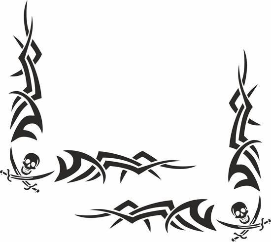 Picture of Skull & Sword corner glass Decals / Stickers