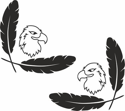 Picture of Eagle & Feathers corner glass Decals / Stickers