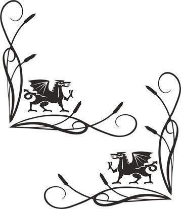 Picture of Welsh Dragon corner glass Decals / Stickers