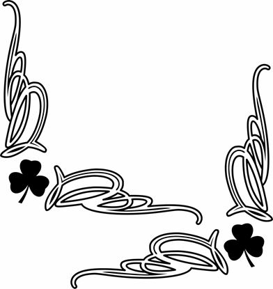 Picture of Irish Shamrock corner glass Decals / Stickers