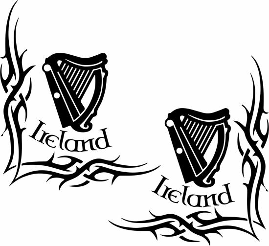 """Picture of """"Ireland"""" Irish harp corner glass Decals / Stickers"""