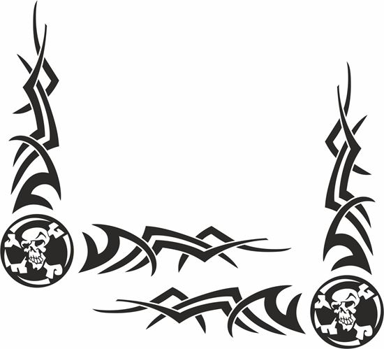 Picture of Skull & Cross Bone corner glass Decals / Stickers