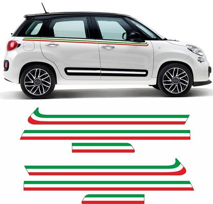 Picture of Fiat 500L Italian side Stripes / Stickers Decals EXACT FIT