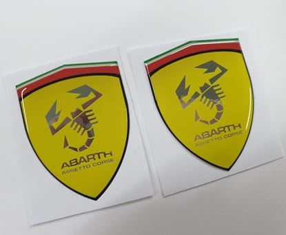 Picture of Fiat Abarth Assetto Corse wing Badges 60mm Chrome Silver