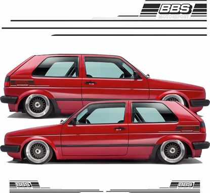 """Picture of MK2 Golf  """"BBS Motorsport"""" side Stripes and rear quarter Decals / Stickers"""