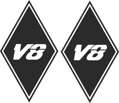 "Picture of MAN ""V8"" Diamond panel corner Decals / Stickers"