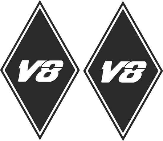 "Picture of MAN ""V8"" Diamond panel corner Decals / Stickers"