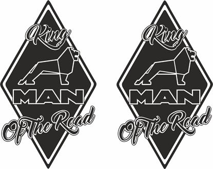 "Picture of MAN ""King of the Road"" Diamond panel corner Decals / Stickers"
