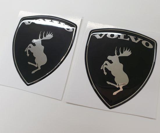 Picture of Volvo Prancing Moose Chrome & Black Wing / Fender Gel Badges