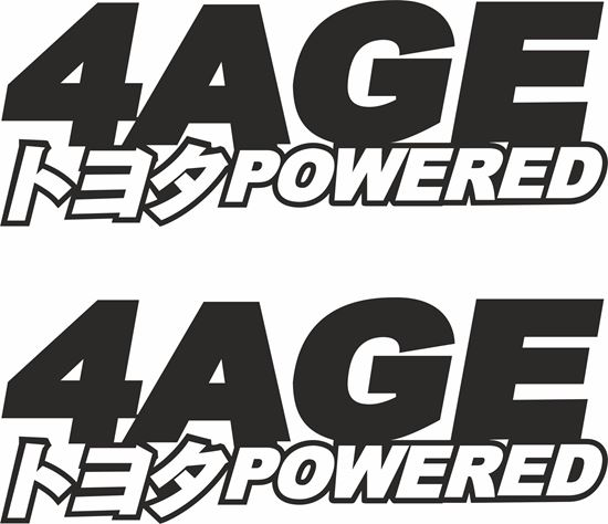 "Picture of Toyota ""4AGE Powered""panel / Glass Decals / Stickers"