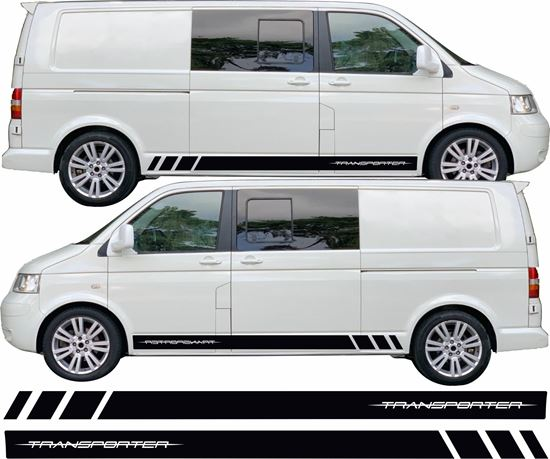 """Picture of VW T5 / T6 """"Transporter"""" Long Wheel Base Stripes / Stickers"""
