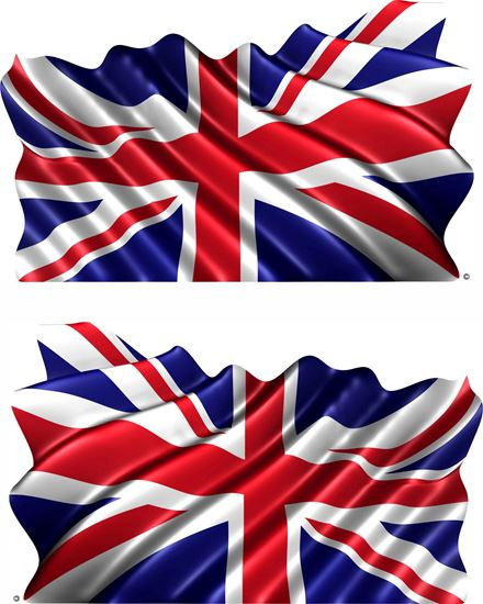 Picture of Union Jack waving Flag  general panel Decals / Stickers