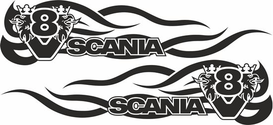 Picture of Scania V8 side Tribal Glass / Panel Decals / Stickers
