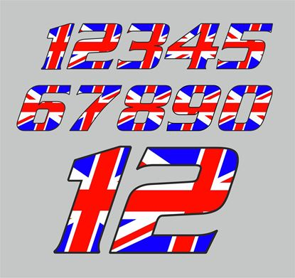 Picture of Track Day Union Jack Door Number Decals  / Stickers