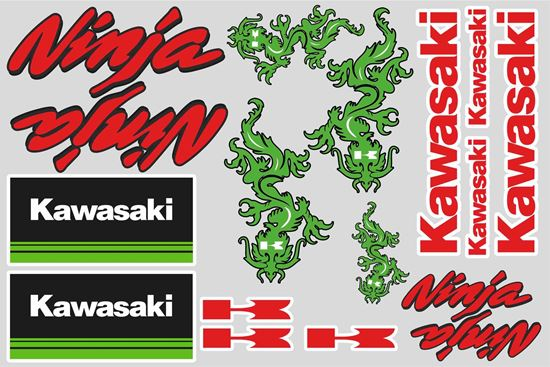 "Picture of ""Kawasaki Ninja""  Track and street race sponsor Sticker Sheet"