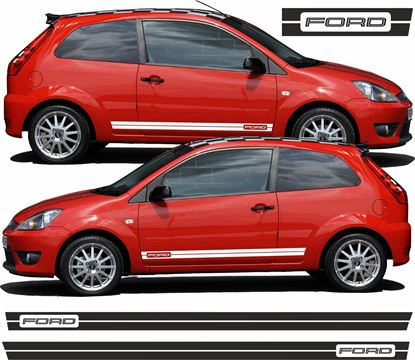 "Picture of Ford Fiesta MK6 Custom Design ""Ford"" side Stripes / Stickers"