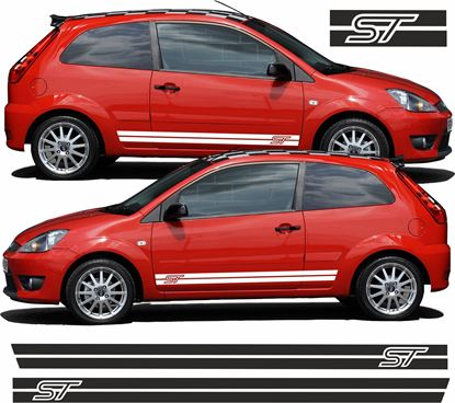 "Picture of Ford Fiesta ST MK6 Custom Design ""ST""  side stripes / Stickers"