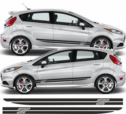 "Picture of Ford Fiesta MK7 ST Custom Design ""ST"" side Stripes / Stickers"