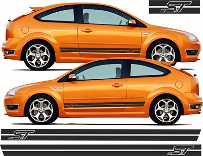 "Picture of Ford Focus ST MK2 3 /5 Door Custom Design ""ST"" side Stripes / Stickers"