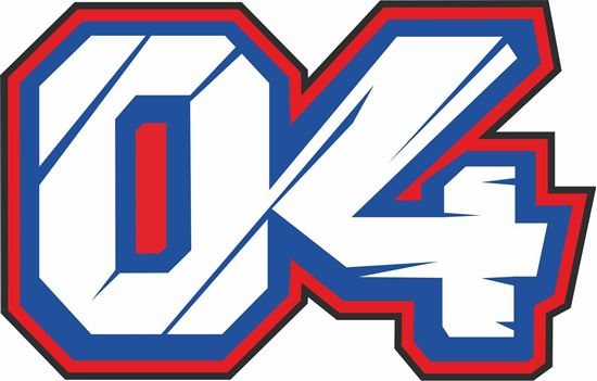"Picture of ""04"" Andrea Dovizioso  Track and street race nose cone number Decal / Sticker"