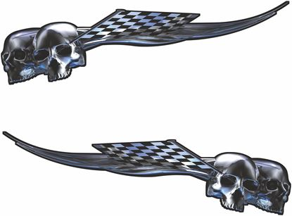 Picture of Skull chequered flag general panel  Decals / Stickers
