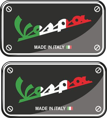 Picture of Vespa Made in Italy 70mm wide adhesive Badges