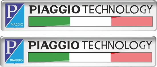 """Picture of Vespa """"Piaggio Technology""""  55mm wide Badges"""