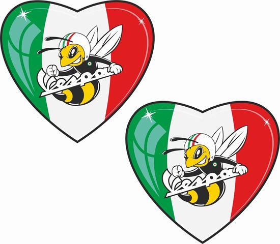 Picture of Vespa Italia Bee Heart Decals / Stickers