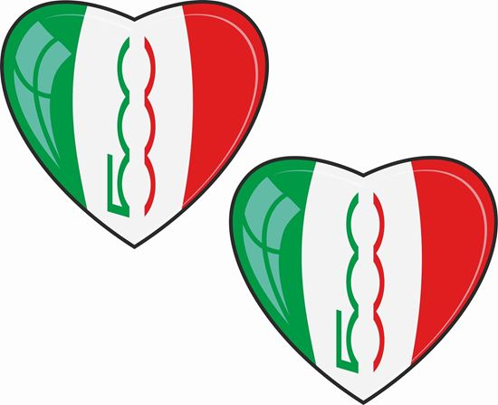 Picture of Fiat 500 Heart Stickers / Decals