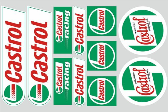 """Picture of """"Castrol""""  Track and street race sponsor Sticker Sheet"""