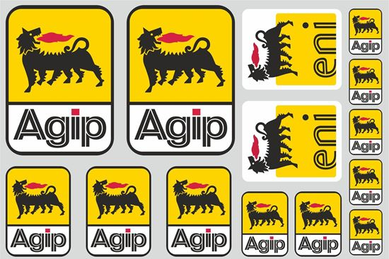 """Picture of """"Agip""""  Track and street race sponsor Sticker Sheet"""