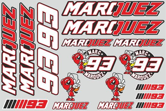 """Picture of """"Marquez""""  Track and street race sponsor Sticker Sheet"""