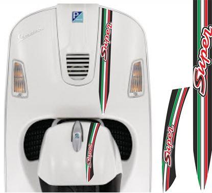 "Picture of Vespa ""Super"" front Fairing and Mud Guard Italia Stripes  / Stickers"