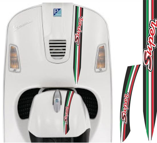 "Picture of Vespa ""Super"" front Fairing and Mud Guard Italia Stripes  / Stickers"