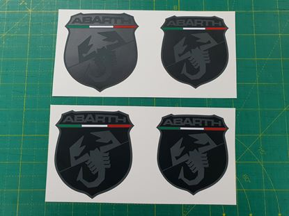 Picture of Fiat  500 / 595 front and rear OE Badge vinyl overlays (Matte & Gloss Black)