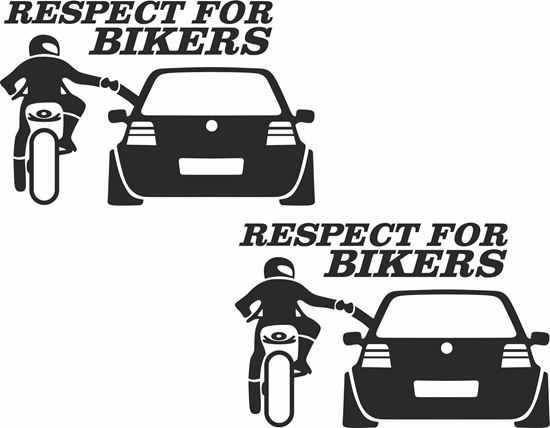 """Picture of """"Respect for Bikers"""" Decals / Stickers"""