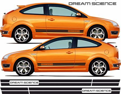 "Picture of Ford Focus RS / ST MK2 3 Door  ""Dream Science"" side Stripes / Stickers"