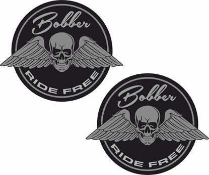 "Picture of ""Bobber Ride Free"" Shield Decals / Stickers"