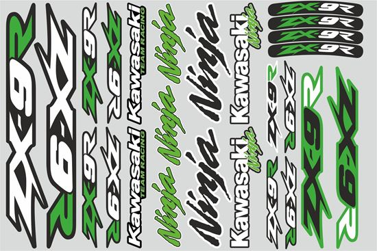 """Picture of """"Kawasaki ZX-9R""""  Track and street race sponsor Sticker Sheet"""