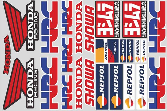 """Picture of """"HRC Honda Racing""""  Track and street race sponsor Sticker Sheet"""