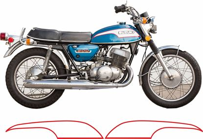 Picture of Suzuki T500K 1973 replacement Tank Decals / Stickers