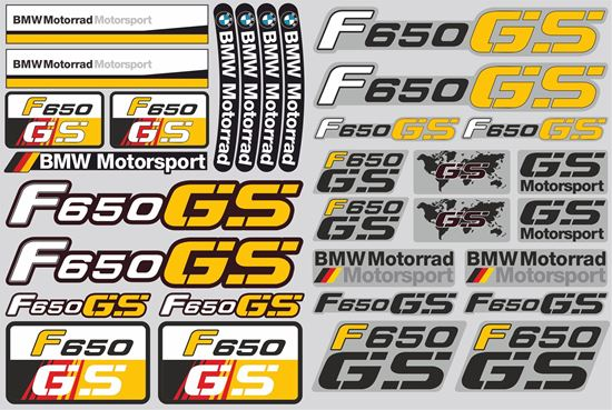 """Picture of """"R 650GS"""" BMW  Sticker Sheet"""