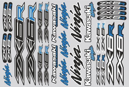 """Picture of """"Kawasaki ZX-6R""""  Track and street race sponsor Sticker Sheet"""