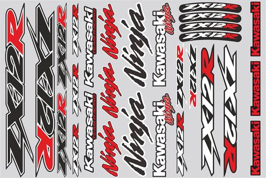 """Picture of """"Kawasaki ZX-12R""""  Track and street race sponsor Sticker Sheet"""