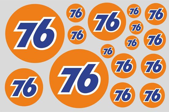 """Picture of """"76""""  Track and street race sponsor Sticker Sheet"""